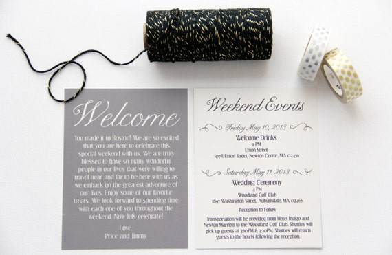 Welcome To Our Wedding Weekend Gift Bags: Wedding Welcome Bag Cards Weekend Itinerary By