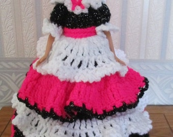Crochet Victorian Doll Dress Lady In Bright Pink, White and Black