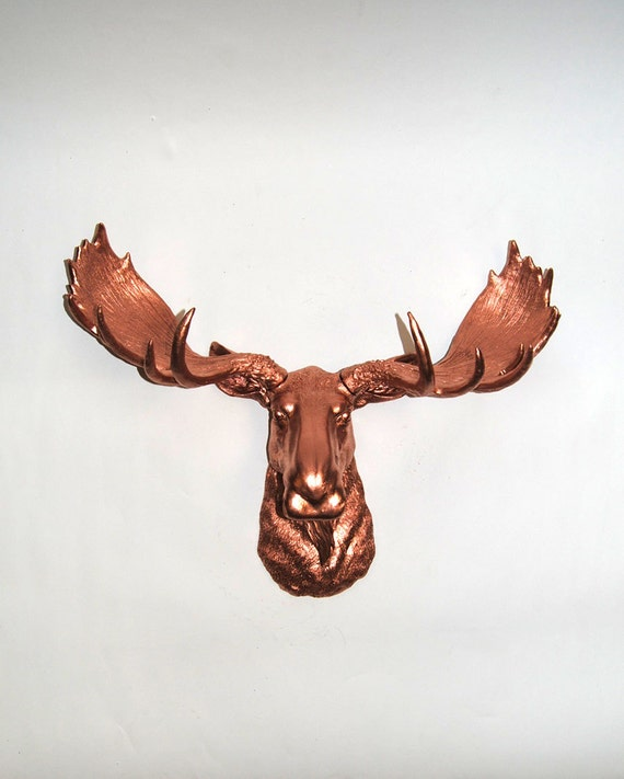 Items similar to white faux taxidermy faux moose head the audi rose gold copper resin - Fake moose head ...