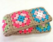 Bright Spring Colors Granny Square Scarf in Taupe, Sage Green, Aqua, Coral, White, and Soft Pink