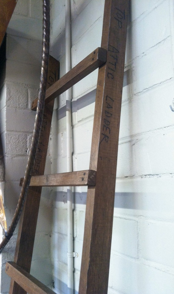 Primitive attic ladder home decor by purplepepperco on etsy for Decor ladder house