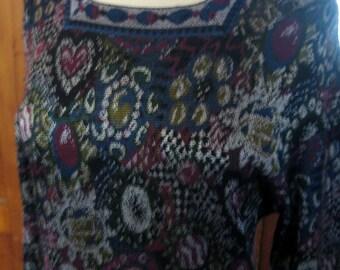 Vintage 80s Missoni Dress Orange Label with Hearts Flowers Zig Zag in Metallic Knit SALE
