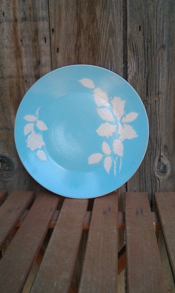 Vintage mid century Harmony House dinner plate Cameo Rose dish blue white scuplted