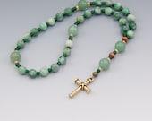 Lenten Rosary - Protestant Prayer Beads - Dolomite with Aventurine Gemstones - Green & Gold - Item # 718