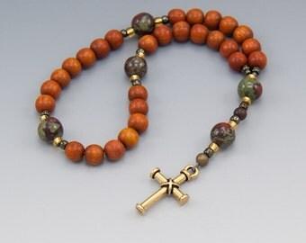 Small Rosary - Christian Prayer Beads - Redwood & Jasper - Pray With Beads - Item # 750