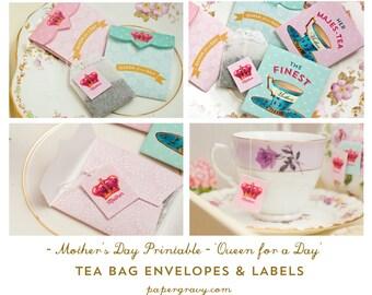 Digital Printable Mother's Day Tea Bag Envelopes & Labels