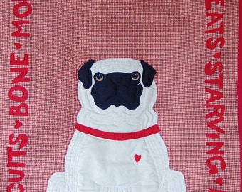 Pug Quilt Pattern What Pugs Want: FOOD designed by Mary Downes for Undercover Quilts Dog Puppy DIY