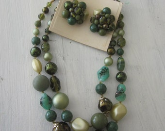 Vintage 2 Strand Necklace Earring Set From The 1950's