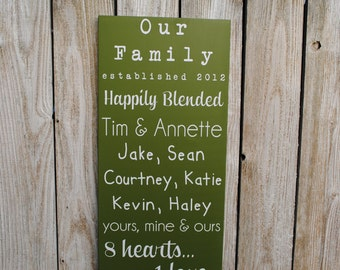 Blended Family Sign Established date sign with family names, Our Family Sign, housewarming gift, wedding gift for blending families