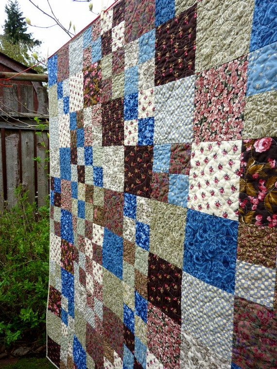 Farmhouse Patchwork Lap Quilt Couch Throw Blue Brown Pink