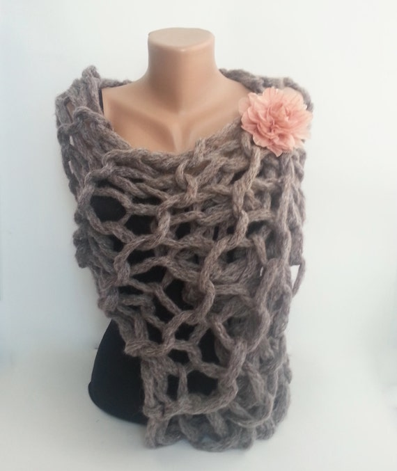 Loose Knit Shawl Pattern : Chunky loose knit scarf spring shawl shrugmohair by sascarves