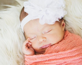 Baby Headband, White puffy Headband, Toddler Headband, Newborn headband, Christening, Baptism, Newborn photo prop, hair accessories.