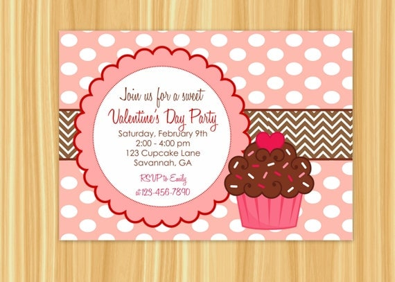 cupcake invitation cupcake party valentine's day party, Ideas