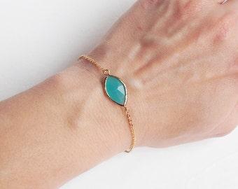 Turquoise Pop 16K Gold Plated Stacking Bracelet- BridesMaid Gift - Gemstone Bracelet- Mint Bracelet