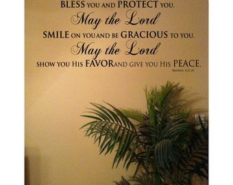 "23"" x 27"" May The LORD Bless You and Keep You Bible Scripture Numbers  6:22-26 Vinyl Wall Art Decal"