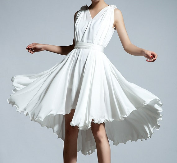 white wedding dress maxi chiffon dress C100