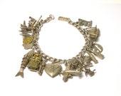 Vintage Charm Bracelet Sterling Silver - Total Weight 42.5 Grams