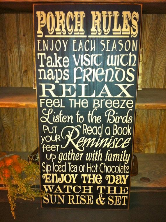 Primitive Porch Rules Sign