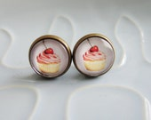Lolly Studs - Cute Cupcakes -  vintage-style delicious pink cupcake with a love heart cherry on top bronze and glass stud post earrings