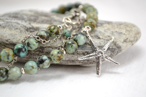 African Turquoise Necklace with Starfish, Nautical Jewelry, Sterling Silver and Turquoise, Handmade