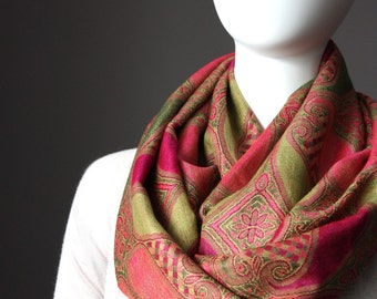 Pashmina, infinity scarf, green scarf, pink scarf, paisley scarf, fall scarf