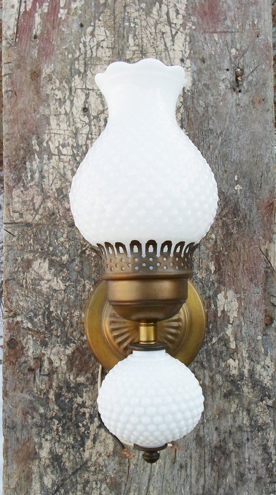 Vintage Hobnail Milk Glass Wall Sconce Light Antique Brass