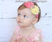 Baby Headband, Infant Headband, Newborn Headband, Pink Lemonade Headband, Pinka and Yellow Headband, Pink and Light Yellow Baby H