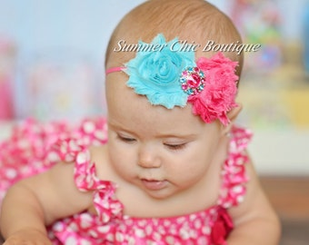 Baby Headband, Infant Headband, Newborn Headband, Pink and Light Aqua Headband - Shabby Chic Headband Pink and Aqua on skinny elastic