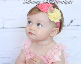 Baby Headband, Infant Headband, Newborn Headband, Pink Lemonade Headband, Pinka and Yellow Headband, Pink and Light Yellow Baby H