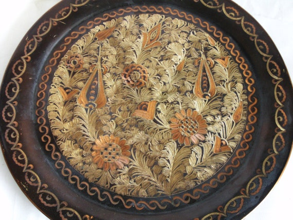 ETCHED Vintage Copper WALL Hanging Plate 13'' Home
