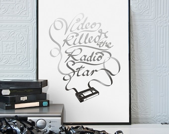 VIDEO KILLED...   Retro Videotape Typographic Print. Available in A2 or A3.