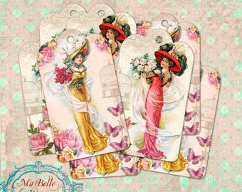 Shabby Chic, Edwardian Ladies Gift Tags with Roses- Instant Digital Download