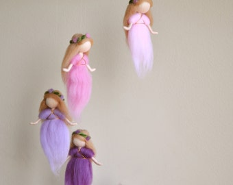 Waldorf inspired needle felted mobile: The Pink and Purple Colors Wool Fairies