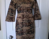 On Sale BRONZE GODDESS Rockabilly VINTAGE Mandarin Black Wiggle Cheongsam Asian Dress Small