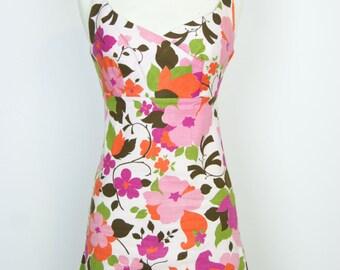 Stunning Vintage 1960s Floral Mini Dress - Size XS - Small