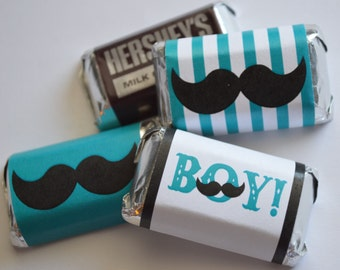 INSTANT DOWNLOAD MUSTACHE Printable Miniature Candy Bar Wraps - Please Read Description Thoroughly
