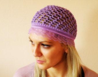 WOMEN crochet HAT Summer beanie hat woman knit hat summer lavender lace cloche hat flapper hat summer lace crochet skullcap