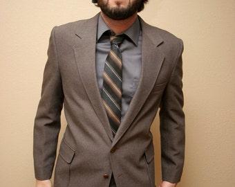 Vintage Brown Grey Men's Suit Slim Fit Retro Suit Size 42