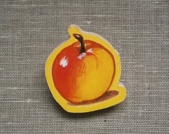 Apple Wooden Brooch upcycled Vintage Puzzle piece