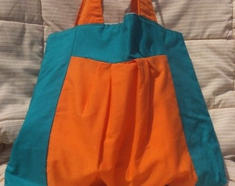 Turquoise Orange Pleated Color Block Purse with Neutral Lining