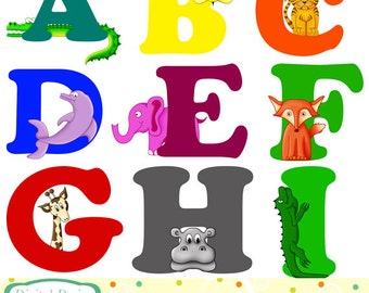 Animal Alphabet, digital clip art set - 26 designs. INSTANT DOWNLOAD for Personal and commercial use.