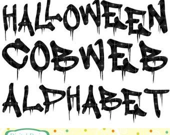 Halloween alphabet etsy for Spooky letter stencils