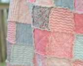 Baby Rag Quilt, Out to Sea by Michael Miller, pink grey gray, nautical, anchor, chevron, mermaid, whale, photo prop