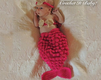 Crochet Mermaid Cocoon and Headband Photography Prop - Newborn PATTERN ONLY