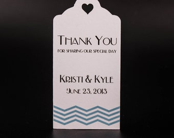 Wedding Favor Tags - Chevrons (50) - Personalized Thank You Tags, Perfect for Weddings or Party Favors