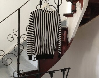 Vintage 80s  Oversized Striped Black and White Sweater
