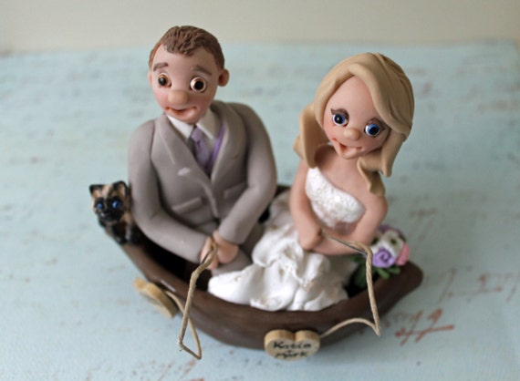 Fishing Couple Wedding Cake Toppers Fisherman By CherryRedToppers