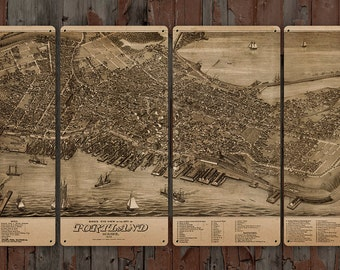 """Vintage map of Portland Maine METAL Quadriptych 48x24"""" FREE SHIPPING"""