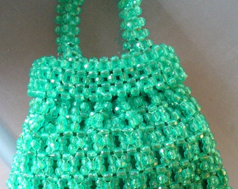 Vintage Jade Green Lucite Bead Made in Italy Lewis Imports Purse