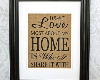 Burlap Wall Decor Housewarming Gift - What I Love Most About My Home